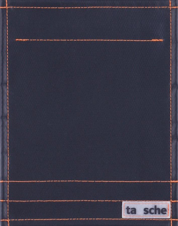 pur schwarz matt - Naht orange (klein)