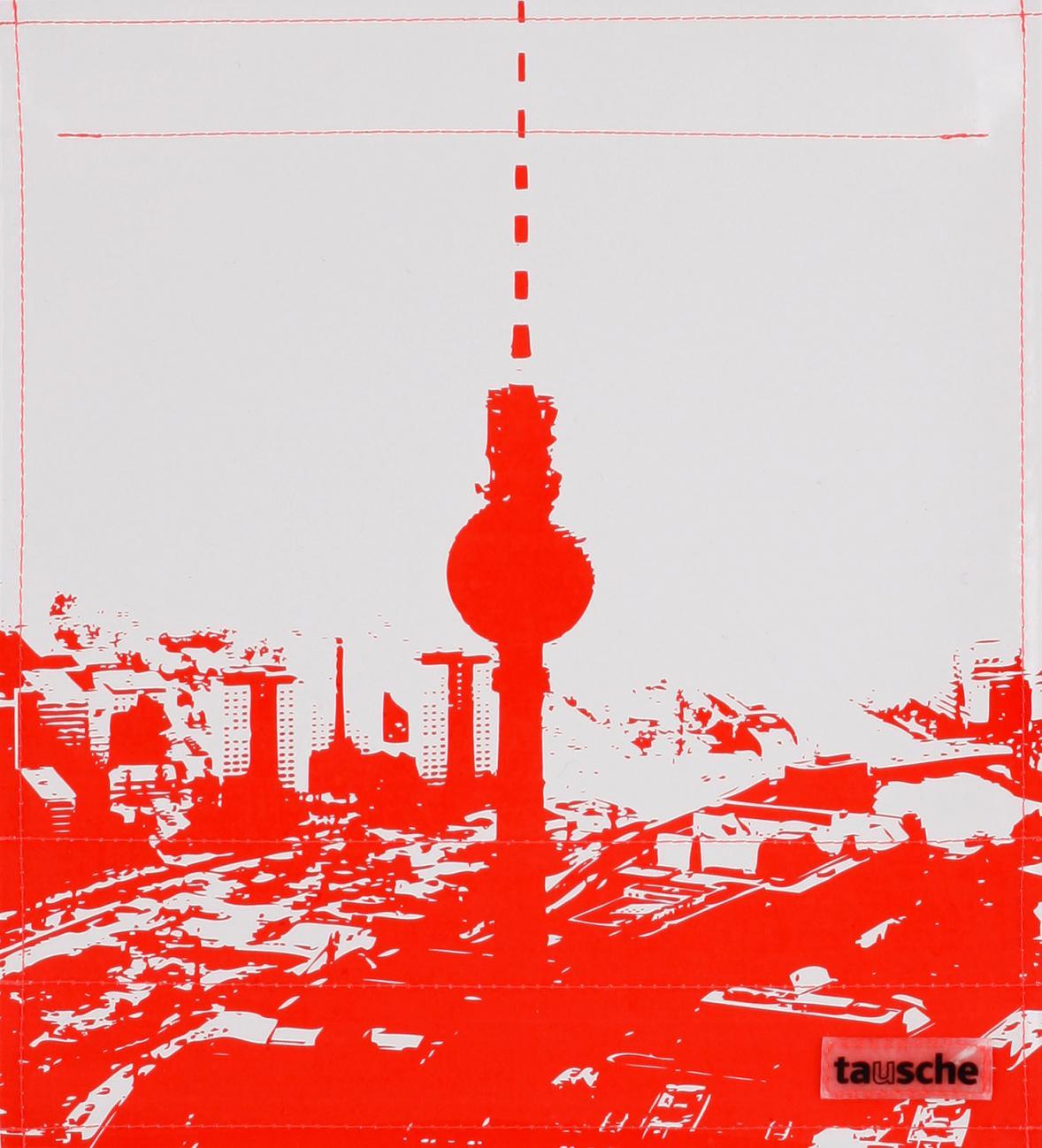 Stadtsilhouette Berlin grau/rot (mittel)