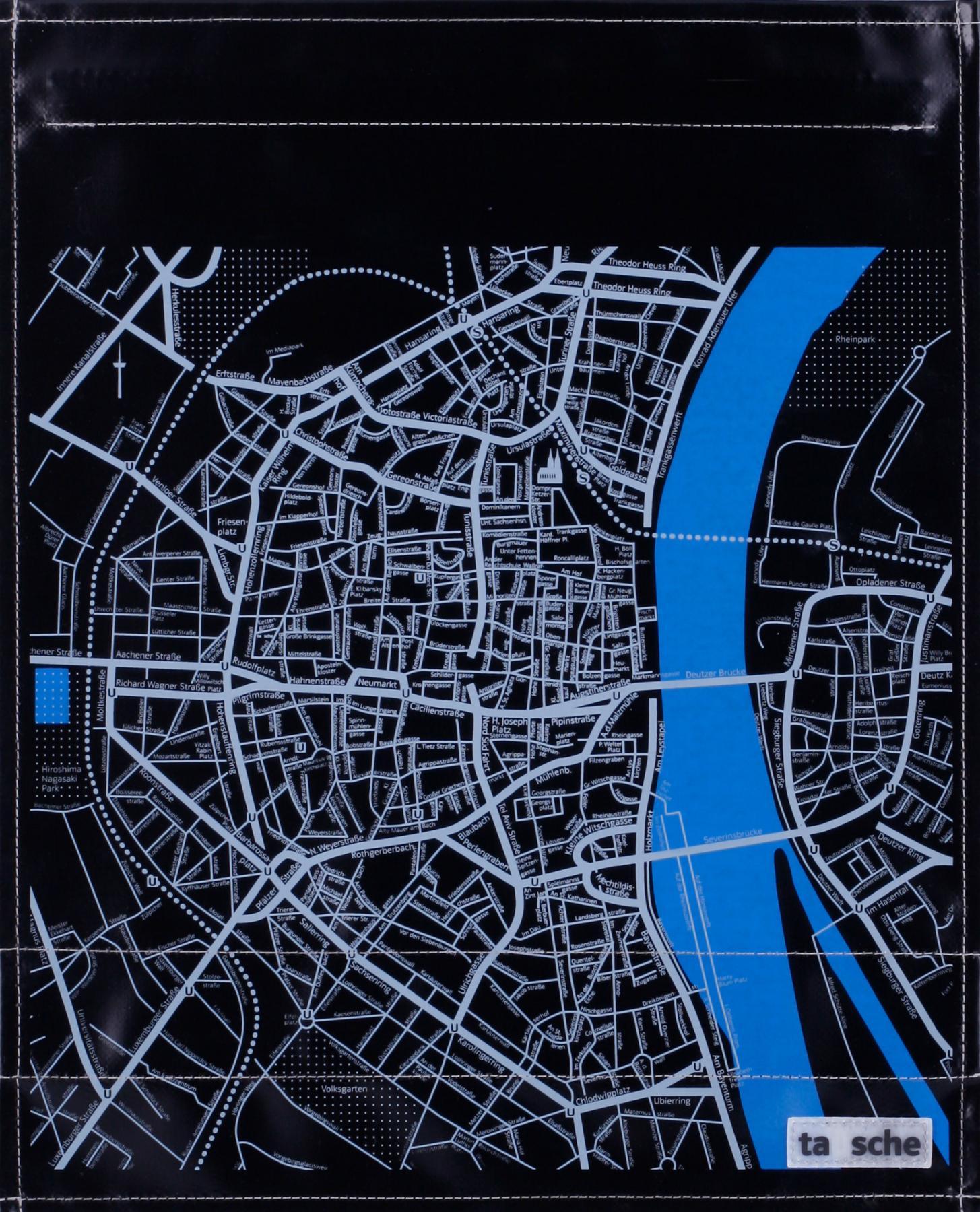 Köln Stadtplan schwarz/grau (groß)