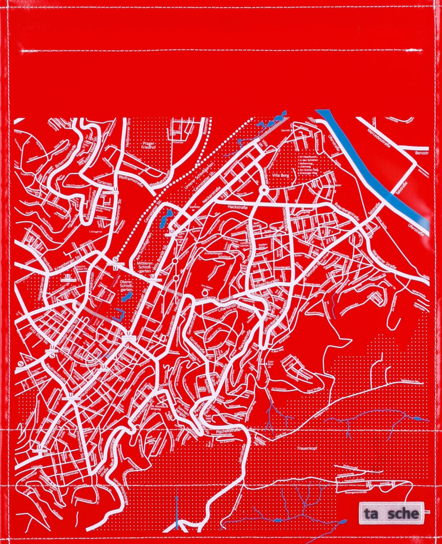 Stuttgart Stadtplan rot/weiß (groß)