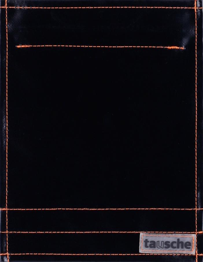 pur schwarz glänzend - Naht orange (klein)
