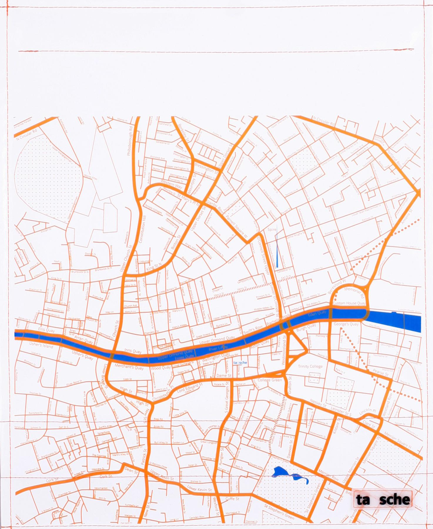 Dublin Stadtplan weiß/orange (groß)